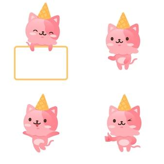 Collection de personnages mignons de kitty de crème glacée