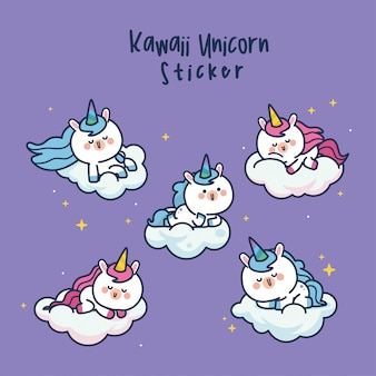 Collection de personnages mignons de licorne kawaii