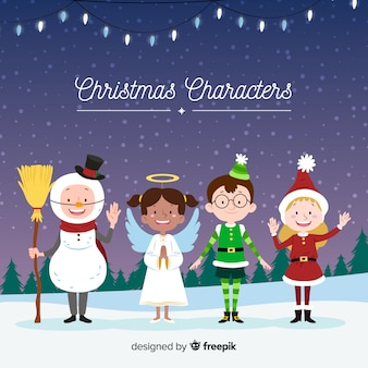 Collection de personnages mignons de noël au design plat