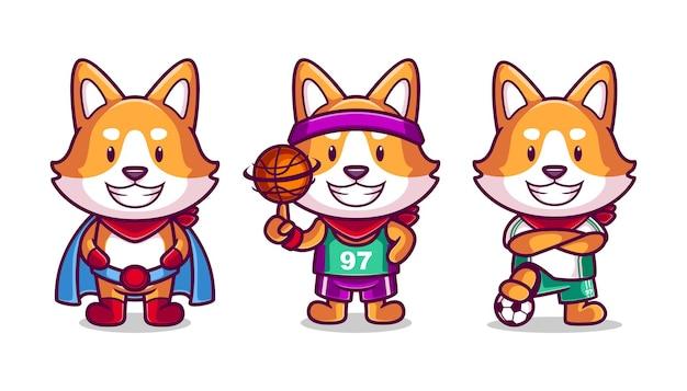 Collection de personnages mignons shiba inu