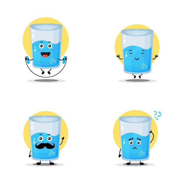 Collection de personnages mignons en verre d'eau