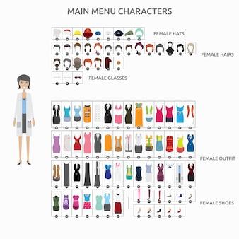 Collection de personnages de mode