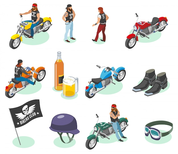 Collection de personnages de motards et d'images de motos, de bières et d'articles de mode