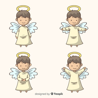Collection de personnages de noël anges dessinés à la main mignonne