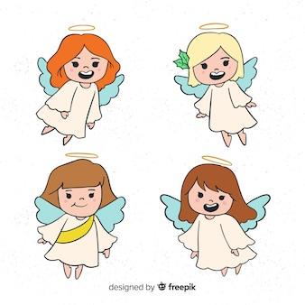 Collection de personnages de noël anges dessinés à la main mignonne