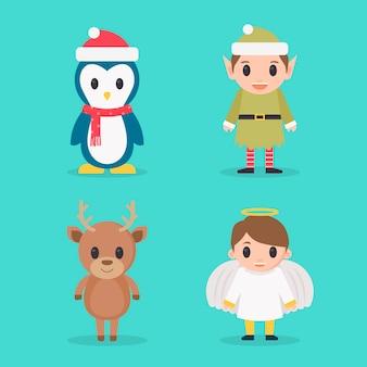 Collection de personnages de noël au design plat