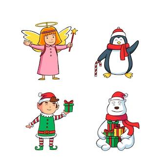 Collection de personnages de noël dessinés à la main