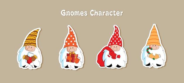 Collection de personnages de noël gnomes mignons plat.