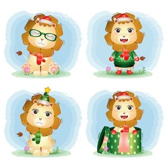 Collection de personnages de noël de lion mignon avec un chapeau, une veste, une écharpe et une boîte-cadeau