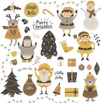 Collection de personnages de noël mignons