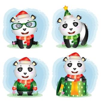 Collection de personnages de noël panda mignon avec un chapeau, une veste, une écharpe et une boîte-cadeau