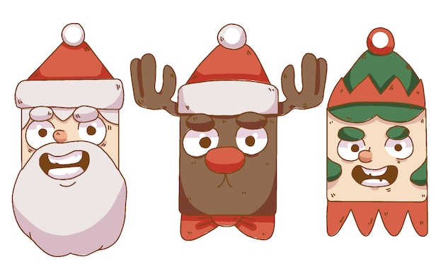 Collection de personnages de noël, père noël, renne et gnome