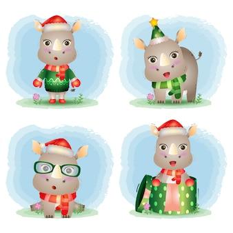 Collection de personnages de noël de rhinocéros mignons avec un chapeau, une veste, une écharpe et une boîte cadeau