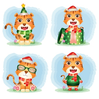 Collection de personnages de noël de tigre mignon avec un chapeau, une veste, une écharpe et une boîte-cadeau