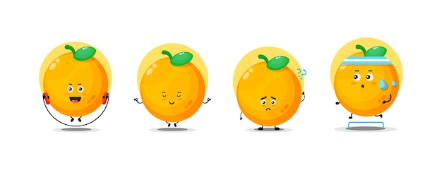 Collection de personnages orange mignon