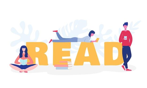 Collection de personnages de personnes lisant ou d'étudiants qui étudient et se préparent à l'examen. ensemble d'amateurs de livres, lecteurs, concept de fans de littérature moderne. dessin animé plat