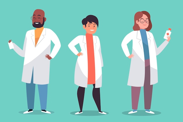 Collection de personnages de pharmacien