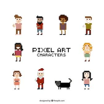 Collection de personnages pixellisés