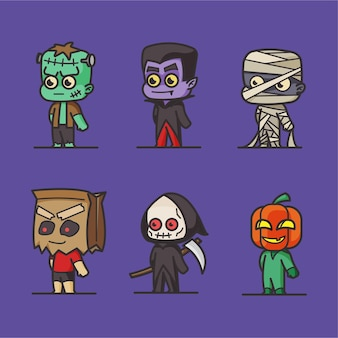 Collection de personnages plat halloween
