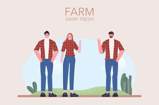 Collection de personnages plats fermiers