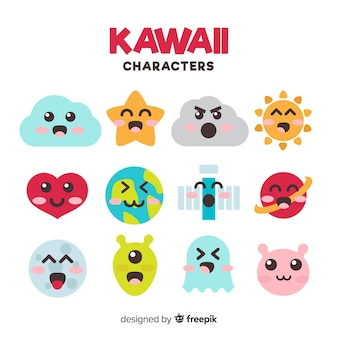 Collection de personnages plats kawaii