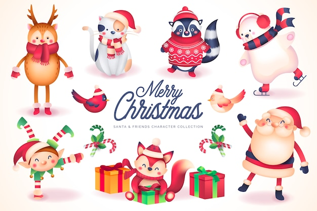 Collection de personnages de santa & friends