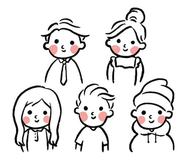 Collection de personnages simples mignons dessinés à la main pour enfants