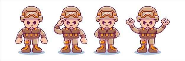 Collection de personnages de soldats avec diverses poses mignonnes