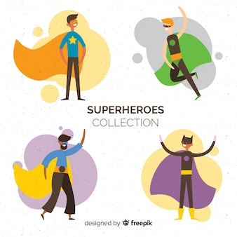 Collection de personnages de super-héros moderne avec design plat
