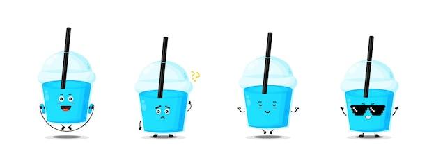 Collection de personnages de tasse en plastique mignon