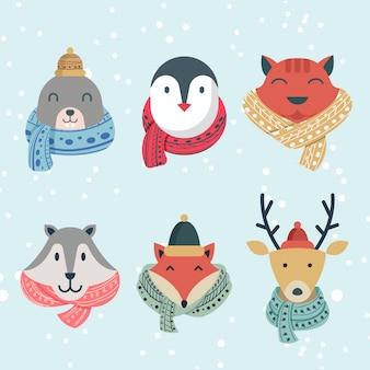 Collection de personnages de tête d'animal d'hiver drôle