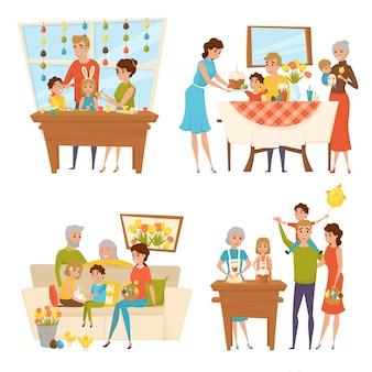 Collection de personnages de vacances de pâques