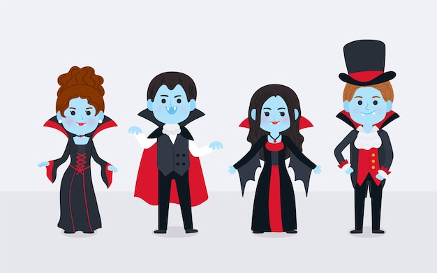 Collection de personnages de vampire dessinés à la main