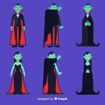 Collection de personnages de vampire halloween au design plat