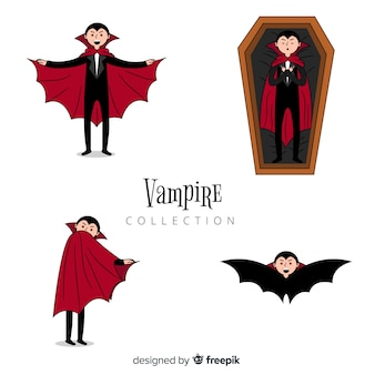 Collection de personnages de vampire halloween dessinés à la main