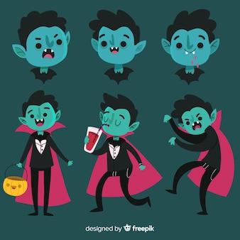 Collection de personnages de vampire halloween dessinés à la main
