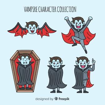 Collection de personnages de vampires dessinés à la main
