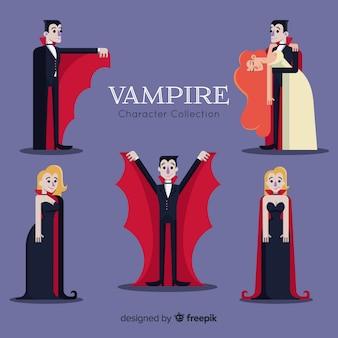 Collection de personnages de vampires d'halloween dans différentes positions