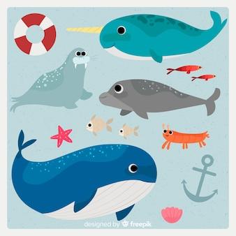 Collection de personnages de la vie marine dessinés à la main