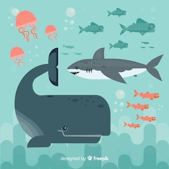 Collection de personnages de vie marine plate