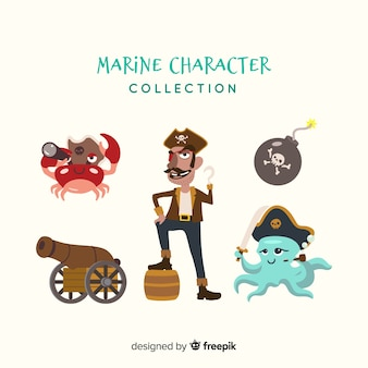 Collection de personnages de vie marine plate