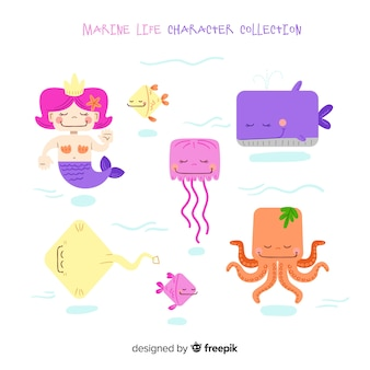 Collection de personnages de la vie marine