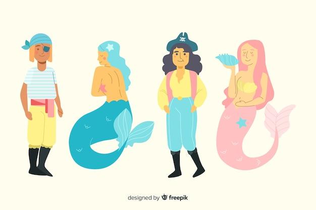 Collection de personnages de la vie marine