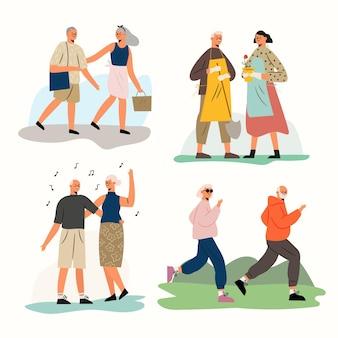 Collection de personnes âgées actives