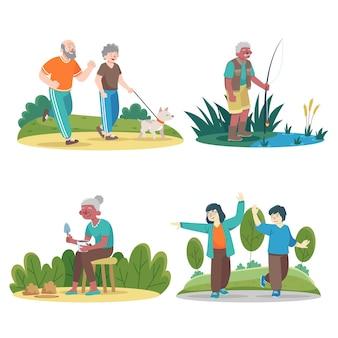 Collection de personnes âgées faisant différentes activités