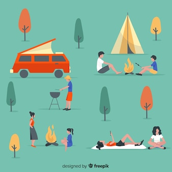 Collection de personnes camping design plat