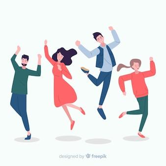 Collection de personnes dansant dessinés à la main