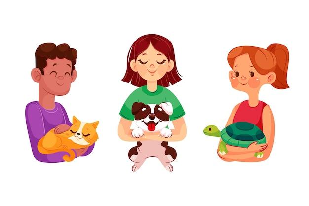 Collection de personnes dessinées à la main avec des animaux