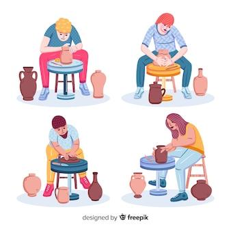 Collection de personnes fabriquant de la poterie