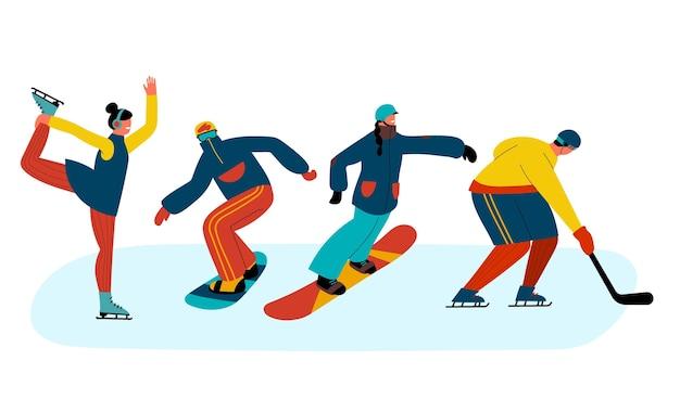 Collection de personnes faisant des activités d'hiver
